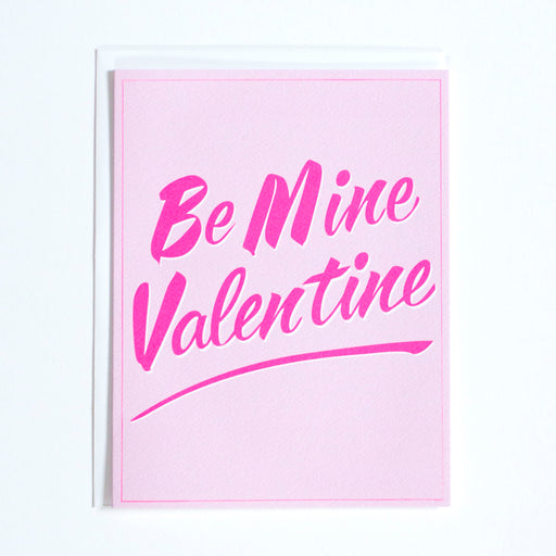be mine, valentine's day, valentines cards, cards for love, neon pink note card