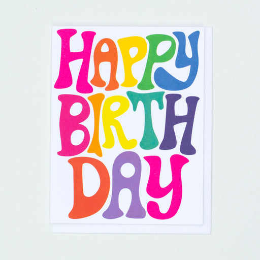 Bubble Rainbow Letters Happy Birthday Note Card