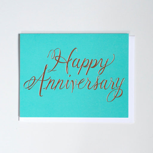 Rose Gold Foil Happy Anniversary Card