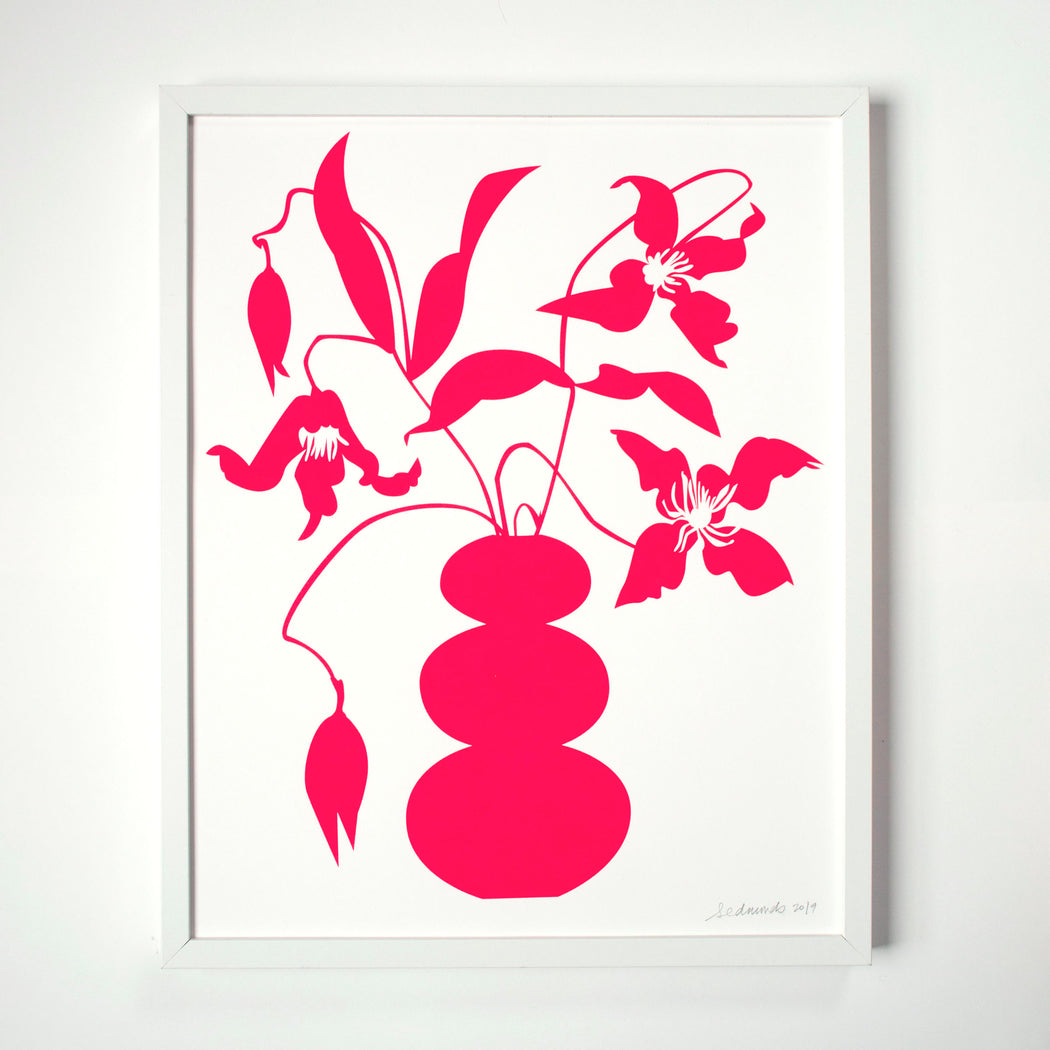 neon, fluoro, screenprint, clematis, clematis in vase