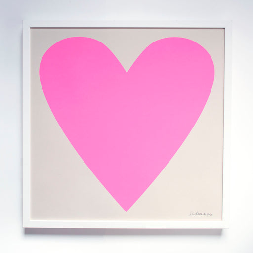 Cool Pastel Neon Pink Heart Screeprint