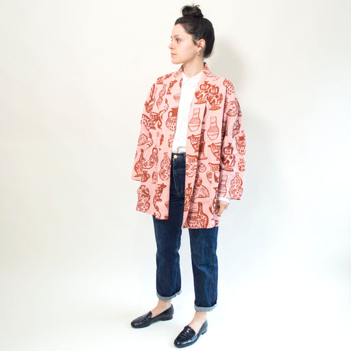 "Maggie Boyd x Banquet Workshop ""Vessels"" Ryan Jacket in Blush Pink and Rust"