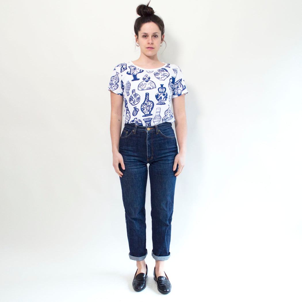 "Maggie Boyd x Banquet Workshop ""Vessels"" T-shirt in Blue on White"