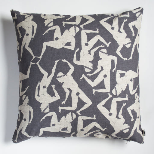 Greco Roman Men Dancing Pillow Cover - Grey on Natural Linen
