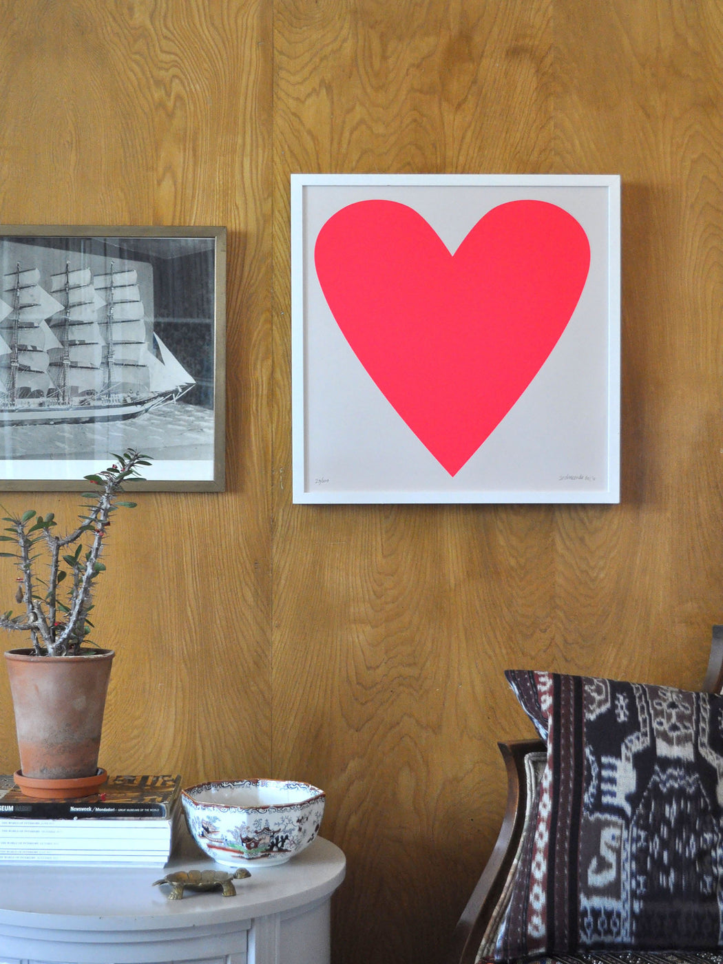 Art Print - Neon Pink Heart - For lovers everywhere