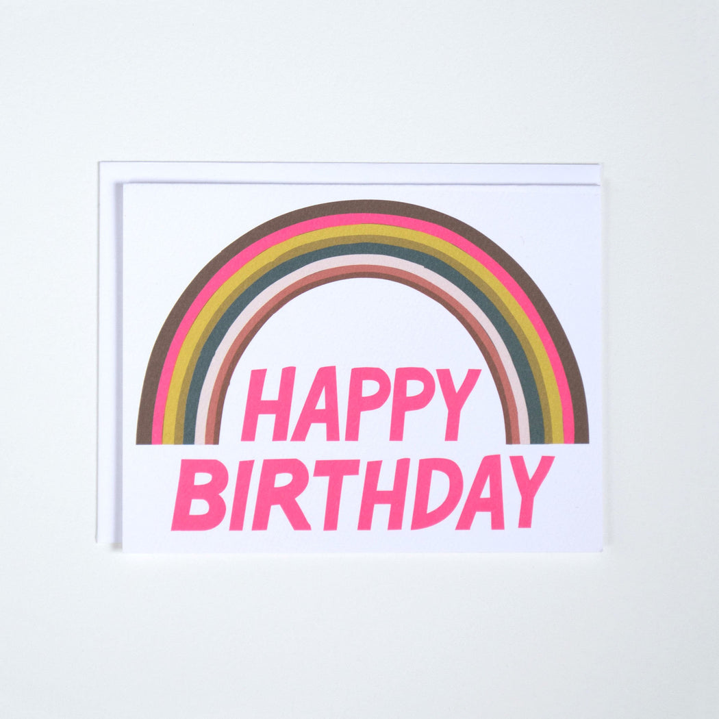 Happy Birthday Neon Rainbow Note Card