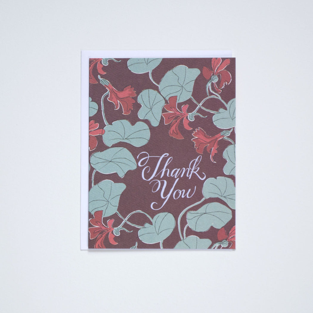 Nasturtiums- Les Fleurs Thank You - Note Card