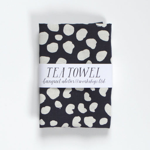 Animals Spot Dots - Cream on Navy - All Linen Tea Towel