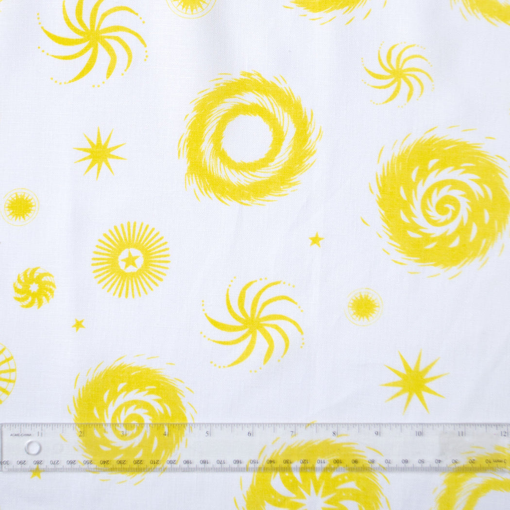Lemon Yellow on White Fireworks all-Linen Pillow Cover