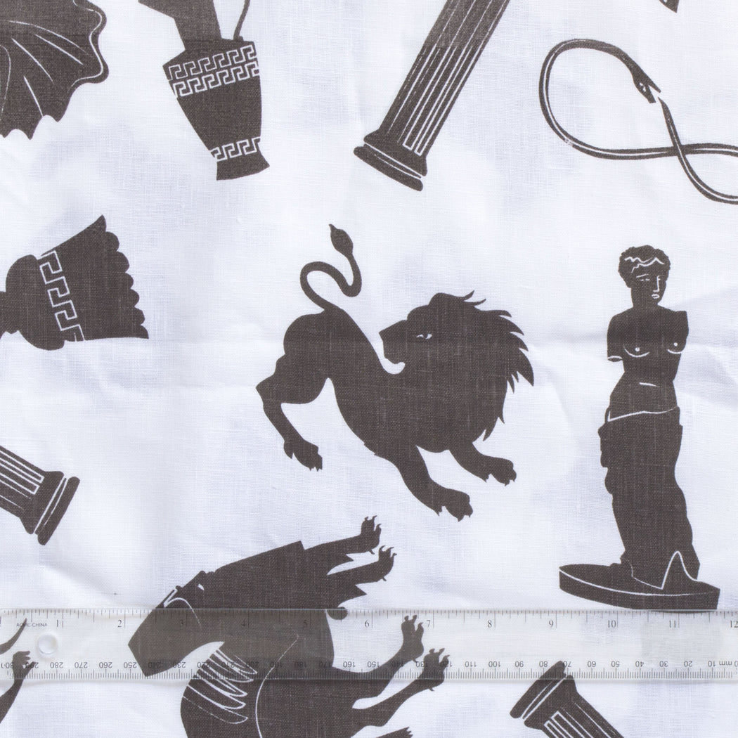 Linen Tea Towel - screen printed ancients - Chocolate brown on White