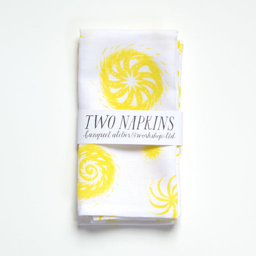 A pair of Lemon Yellow on White Fireworks Napkins