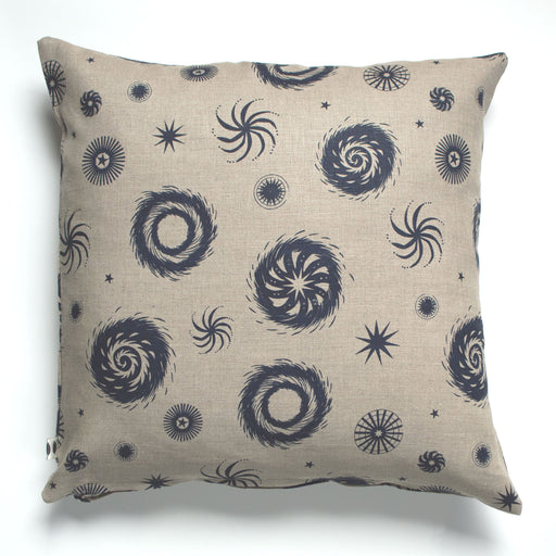 Navy on Natural Fireworks Cushion Cover