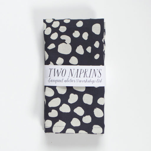 "Cream on Navy ""Dots Dots Dots"" Pair of Linen Napkins"