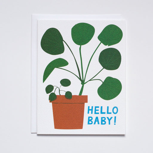 Hello Baby Note Card with Pilea Plant and new baby