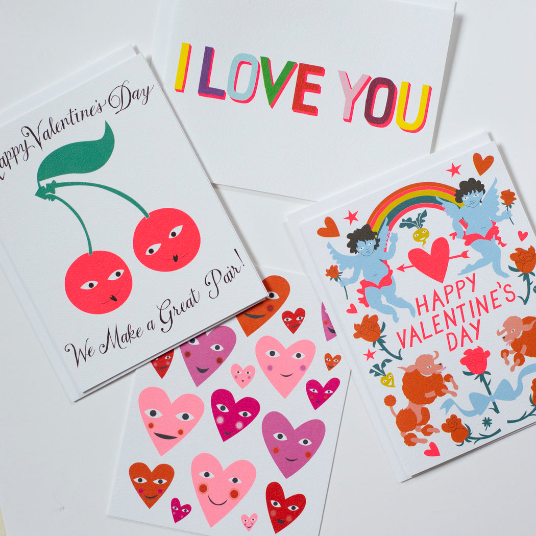 valentine's day cards, poodles, cherubs, cherries, i love you, heart card