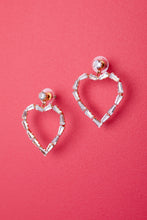 Load image into Gallery viewer, Love Me With Diamonds Heart Hoops