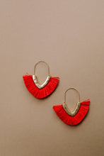 Load image into Gallery viewer, Tasseled V Earrings In RED