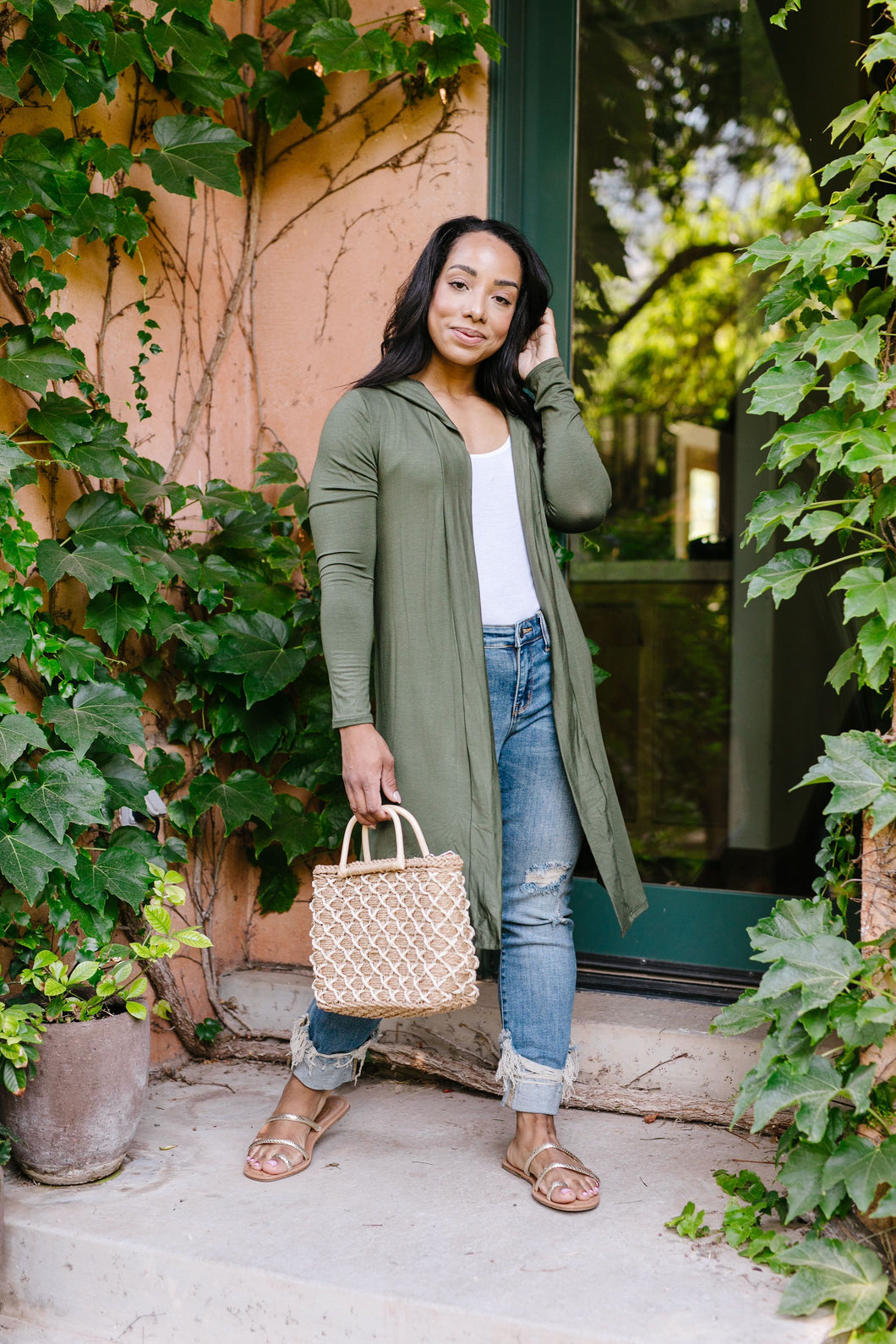 Between Seasons Cardigan In Olive