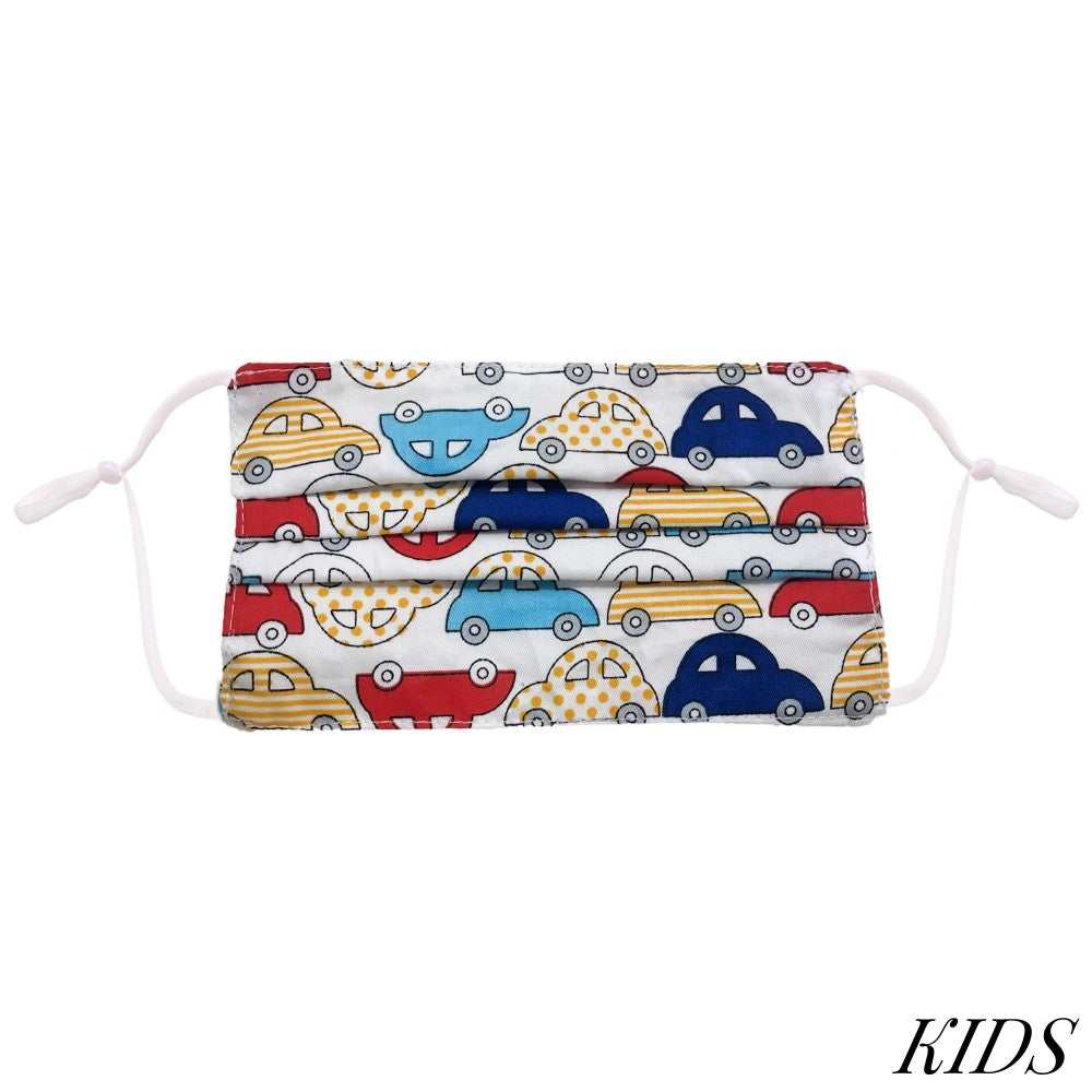 KID'S CARS TWO-LAYER PLEATED FASHION FACE MASK