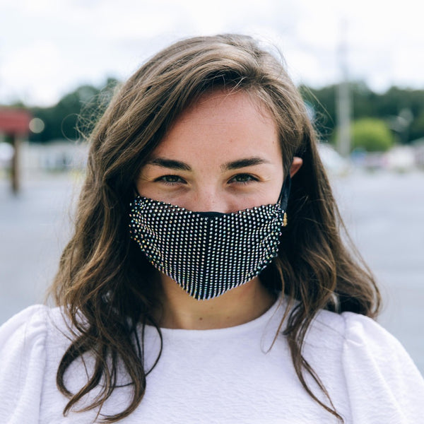 Rhinestone Mesh Face Mask Cover - Black