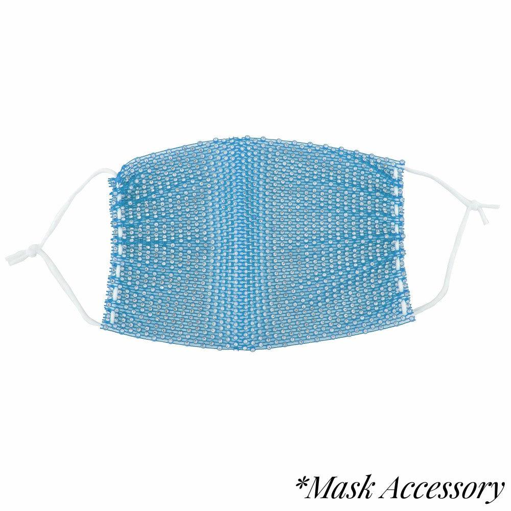 Rhinestone Mesh Face Mask Cover - Blue