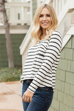 Load image into Gallery viewer, Basically Striped Long Sleeve Top in Ivory and Black