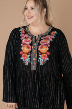 Load image into Gallery viewer, Blooming Rose Striped & Embroidered Blouse- 9/22/2020