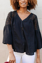 Load image into Gallery viewer, Gracie Lacey Shoulder Top In Black