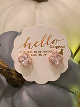 Load image into Gallery viewer, Signature Cubic Zirconia Clover Halo Studs - Rose Gold