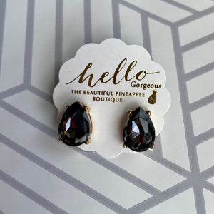 Black Teardrop Stud Earrings
