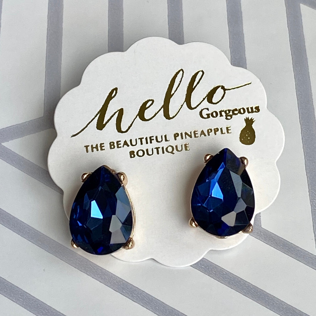 Deep Blue Teardrop Stud Earrings