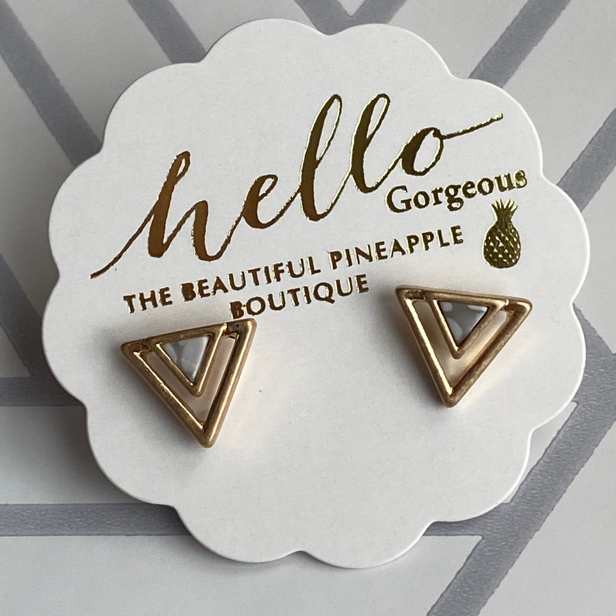 Triangular Stud Earrings with Marbled Center