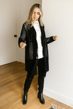 Load image into Gallery viewer, Knit And Fringe Cardigan in Black