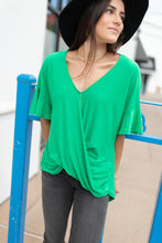 Load image into Gallery viewer, Nice Surprise Surplice Knit Top In Kelly Green