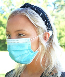 BLACK AND WHITE POLKA DOT BUTTON HEADBAND FACE MASK HOLDER