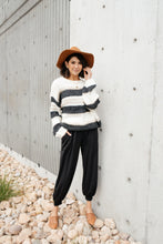 Load image into Gallery viewer, Straightforward Striped Sweater In Ivory and Black