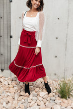 Load image into Gallery viewer, Tiered & Tied Skirt In Wine