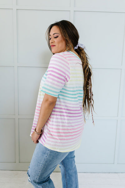 Burnout Pastel Striped V-Neck