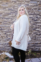 Load image into Gallery viewer, Cable Knit Belted Cardigan In Cream