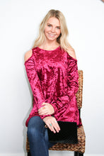 Load image into Gallery viewer, Crushing It Cold Shoulder Blouse In Ruby