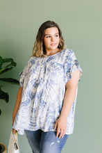 Load image into Gallery viewer, Denim Tie Dye Ruffle Sleeve Blouse