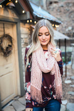 Load image into Gallery viewer, Eyelets + Fringe Blush Scarf