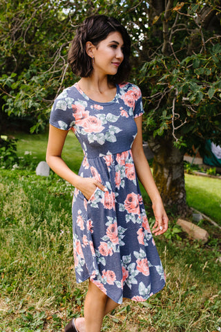 Feminine Floral Dress in Navy