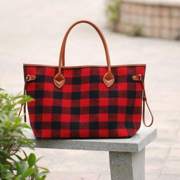 Red and Black Buffalo Plaid Tote