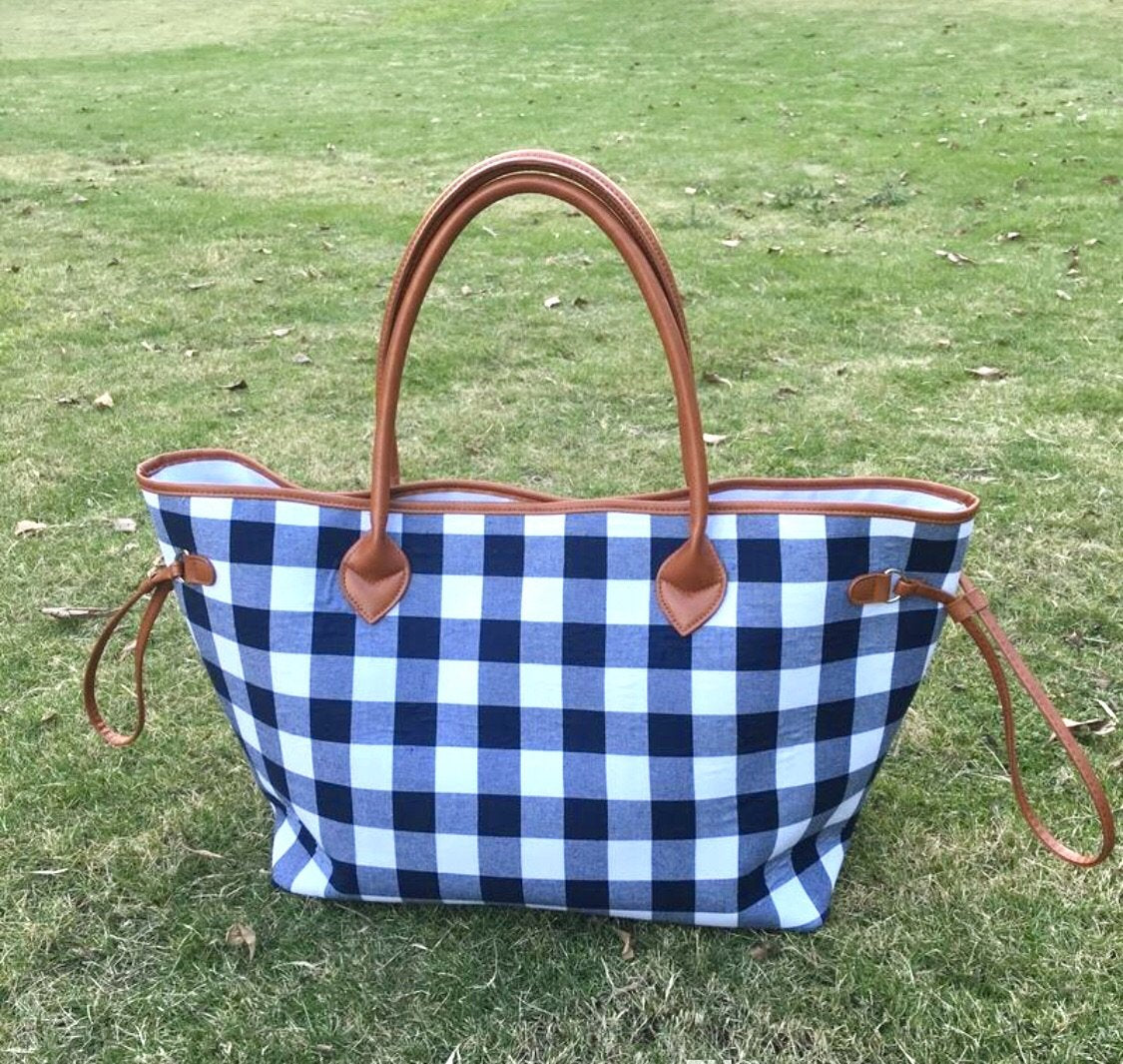 Navy and White Plaid Tote