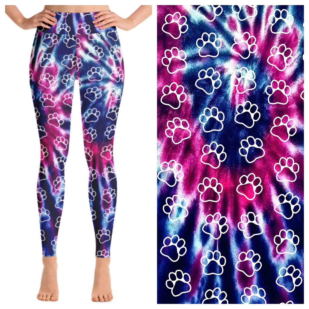 Paw Print Tie Dye Leggings - CLEARANCE