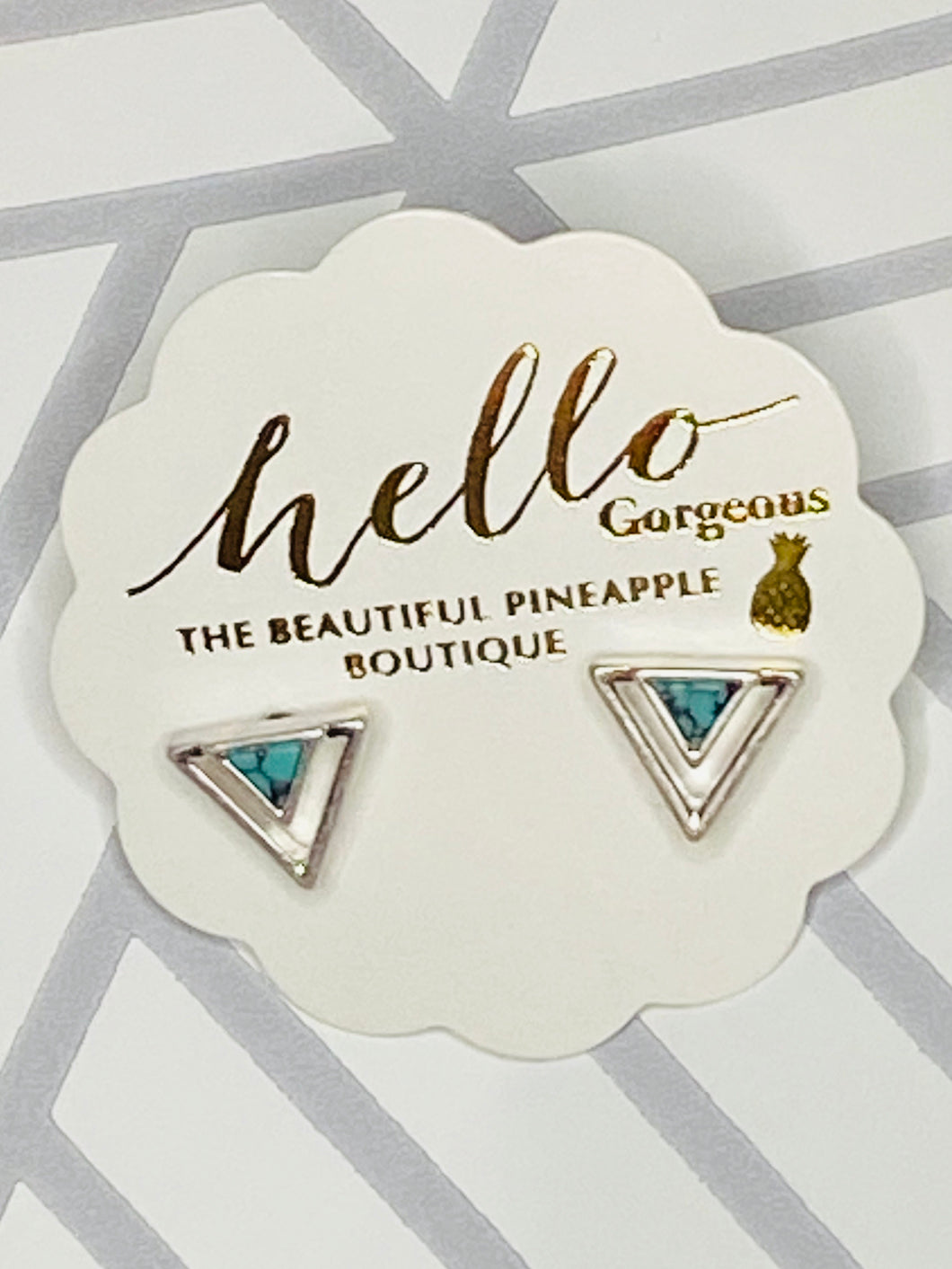 Triangular Stud Earrings with Turquoise Center