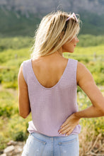 Load image into Gallery viewer, Open Weave Waffle Knit Tank In Lavender