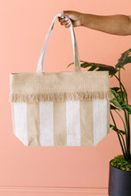 Load image into Gallery viewer, Platinum Stripe Jute Tote Bag