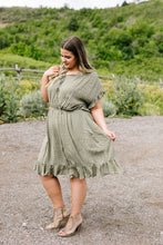 Load image into Gallery viewer, Ruffled Olive Swiss Dot Dress